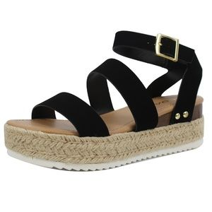 Black Open Toe Strappy Ankle Strap Espadrille Wedg